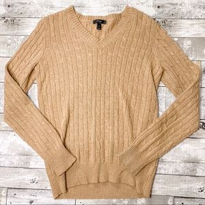J Crew wool cable knit v neck sweater